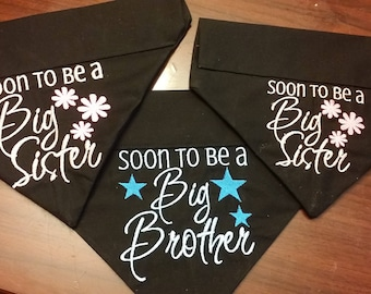 Soon To Be Big Brother or Big Sister Dog Bandanas!