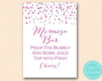 Mimosa Bar Sign, Pink Silver Confetti Mimosa Sign, Bubbly Bar, Bridal Shower Sign, Wedding Sign BS179 tlc179 MP