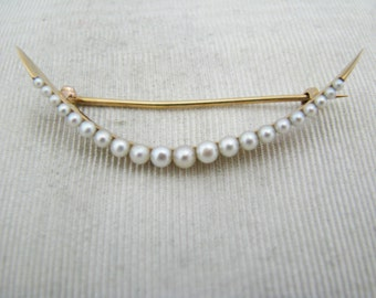 c099 Beautiful Vintage 14k Yellow Gold Curved Pearl Brooch
