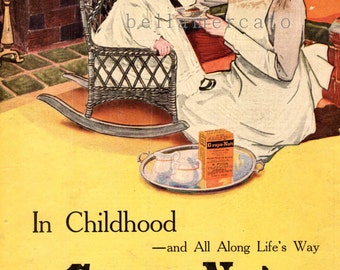 Grape Nuts Advertisement 1910's Original Cereal Ad Nanny Feeding Child in Rocking Chair