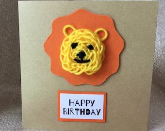 Knitted Lion Children's Handmade Birthday Card