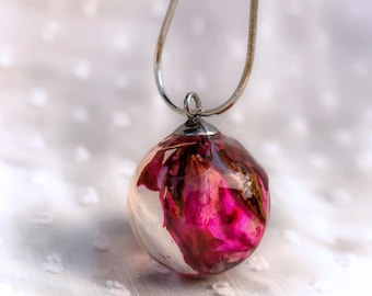 Real Red Rose Big ball pendant necklace Rosebud pendant Real rose jewelry Botanical jewelry pendant Dried rose necklace Flower pendant