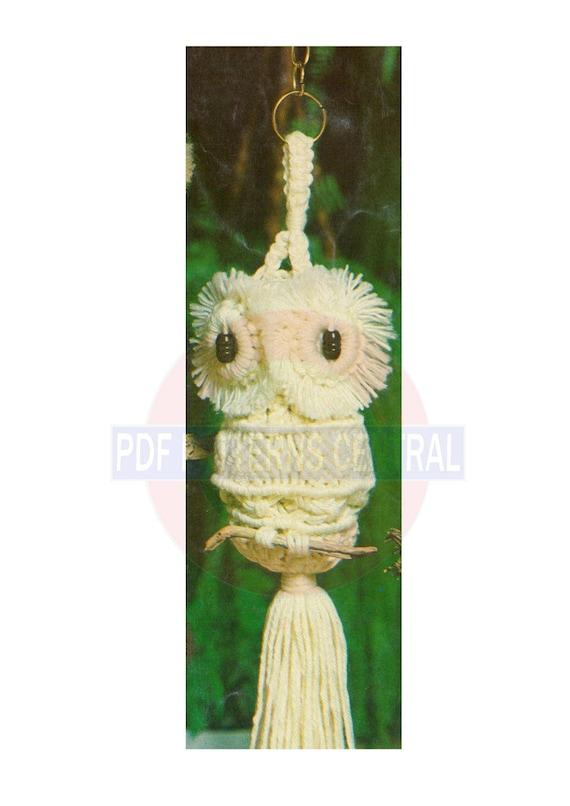 Vintage 70s Sampler Macrame Owl Wall Hanging Pattern Instant