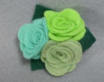 Green Flower Pin - Flower Brooch - Felt Brooch - Felt Flower - Felt Pin - Felt Jewelry - Flower Jewelry - Artificial Flower - Fake Flower