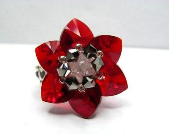 Ring Swarovski Crystal corolla of brownish red hearts gift cracked rock crystal