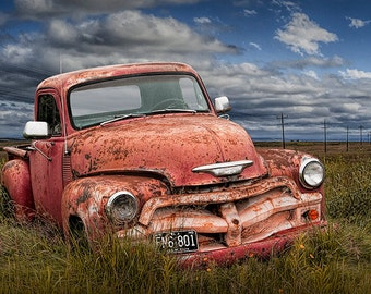 Vintage Chevy Pickup Truck Abandoned on the Prairie in North Dakota No.12 Auto Landscape Western Fine Art Photography