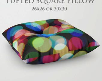 STUFFED Pillow-Floor Pillow-Rainbow Floor Pillow-Abstract Decor-Round Floor Pillow-Circle Print Pillow-Floor Cushion-Colorful Decor-Seating
