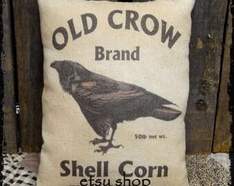 Primitive Old Crow Corn Feedsack Type Pillow or Panel #31
