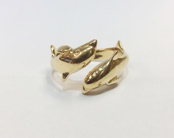 Dolphin 14k Yellow Gold Ring