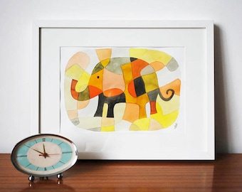 Nursery Art Print Kids Art Print Mid Century Modern Print of Elephant 1 pink yellow mustard orange black 8 x 10