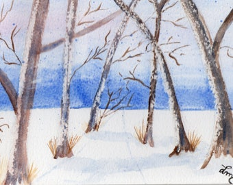 "Mini original watercolor painting ""Snow"" watercolor ""landscape"", sold unframed"