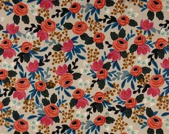 Cotton + Steel Les Fleurs - Rosa Natural Linen Canvas - Rifle Paper Co Fabric - 8012-12 - Floral Home Decor Fabric - Canvas Upholstery