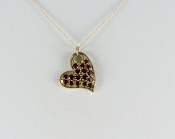 10K Yellow Gold Garnet Necklace and 18 inch chain Heart Necklace