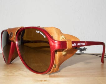 Bollé IREX 100 Rare Vintage Aviator Shades Steampunk Leather Red Sonnenbrille Mountain Climbing Sunglasses
