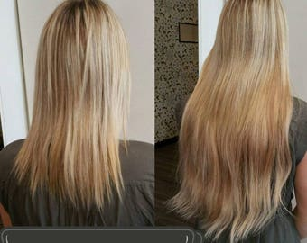 100% human European quality hair halo hair extensions 20""