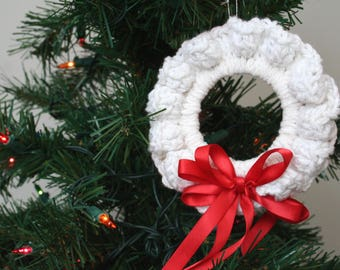 Crochet Christmas Ornament, White Wreath with Red Ribbon, White Red Ornament