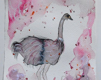 Folk Art Bird Painting - Ostrich Painting - Watercolor Painting - Bird Art - Bird Lovers - Folk Art Painting