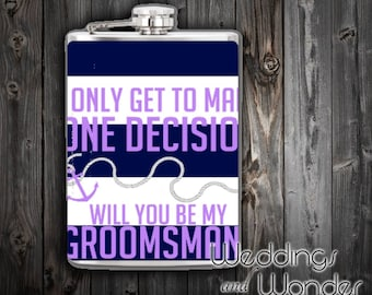 Nautical Navy Groomsman Proposal - Flask