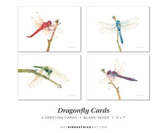 Dragonfly Greeting Cards, Pack of 4, Dragonfly Note Cards, 5x7 Blank Inside, Watercolor Dragonflies, Gift for dragonfly lovers
