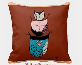 Stacked owls toss pillow owl pillow 16x16 rustic home decor rustic owls owl family