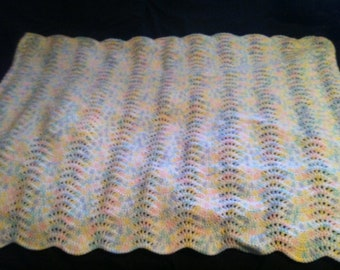 Super soft multi color ripple crochet baby blanket/afghan