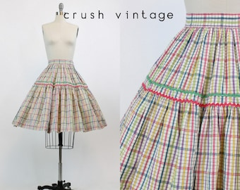 50s Skirt Plaid XS / 1950s Skirt Cotton Full / Rickrack Rally Skirt