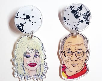 Dolly / Dalai Large Acrylic Dangle Earrings