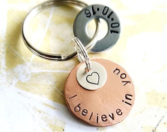I Believe In You Sobriety Recovery Gift Keychain - Hand Stamped Copper Disc, Sterling Silver Disc and hardware washer - AA