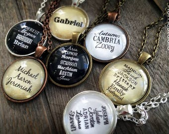 Personalized Children Names Grandchildren Glass Dome Necklace or Key Ring, Keychain Custom jewelry. Mom Grandma Nana Mimi adopt