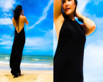 Black Halter open backless long maxi dress sun evening all size
