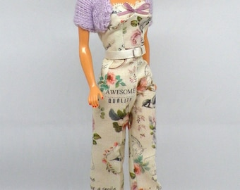 Dried Flowers Collection. LIMITED EDITION. Vintage Style Jumpsuite and shrug for Barbie doll by Dollydolls. NEW !!