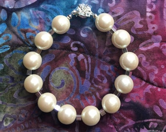 Handmade Pearl and Silver Bracelet