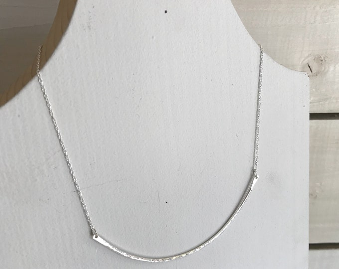Hammered finish bar necklace, bib necklace, contemporary necklace
