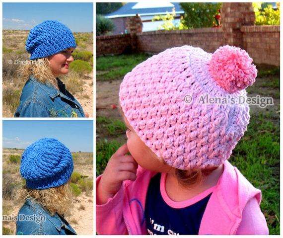 Crochet Hat Pattern 145 - Crochet Pattern Candy Crochet Hat from Baby to Adult - Toddler Boys Girls Children Teens Women Men - Winter Hat