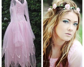 Adult Fairy Halloween  Costume ~  Party Dress  and Flower Crown ~ Theatre ~ Cosplay ~ Renaissance ~ Bridal ~ Renaissance Costume