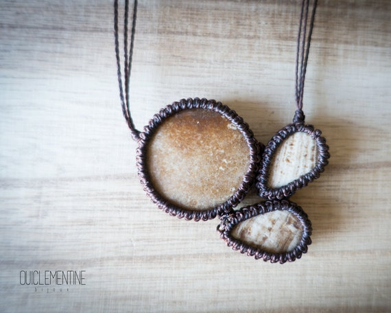 Macrame aragonite necklace