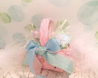 Easter ornament mini easter basket ornament pastel spring decor vintage inspired pink blue green easter decor party decor