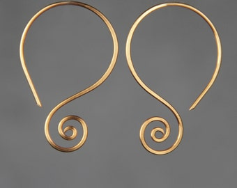 Scroll shell hoop Rococo earrings handmade US freeshipping Anni Designs
