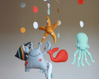 Nursery Mobile-Baby Mobile-Babys mobile-Sea Creatures Mobile-Ocean Mobile-Sea life mobile-Made to Order, baby shower