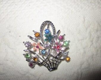 basket of flowers brooch, rhinestone pin, enamel flowers, vintage jewelry