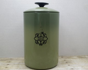 West Bend Sugar Canister, Shabby, Metal, 1960s