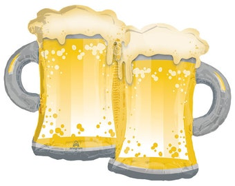"32"" TWO Beer Mugs, Cheers, Big foil balloon, party decoration, dirty thirty birthday, Free SHIPPING"