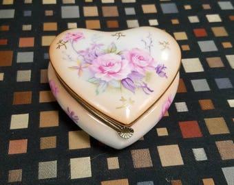 Lefton Japan Porcelain Hinged Heart Trinket Box with Rose Design.