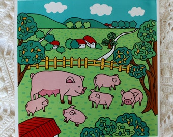 Farm Tile Trivet - Pink Pigs