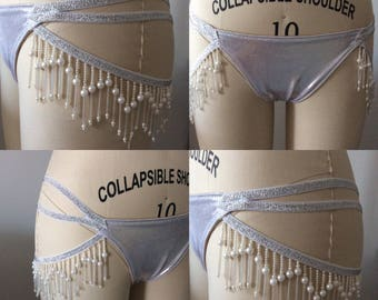 Silver lycra gstring, one row fringing,burlesque