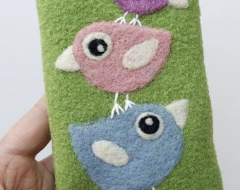 Phone cozy pouch olive green wool needle felted birdie bird birds