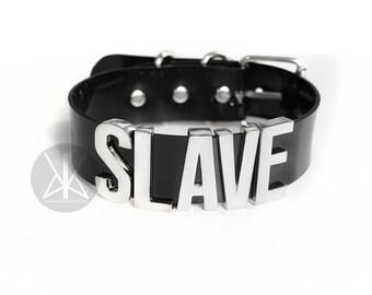 SLAVE Choker, Slave Collar, bdsm, bondage, fetish, dominatrix, slave choker, word choker, name choker, Slave Collar BIG Letters - SILVER
