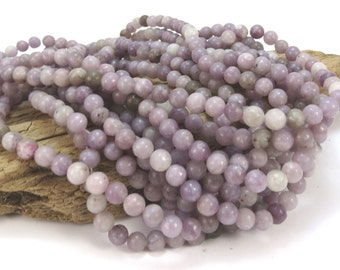 Lilac Stone, 6mm Purple Lilac Beads, Natural Multi-Colored Purple 6mm Beads, 16 inch Strand, Beading Supplies, Item 958pm