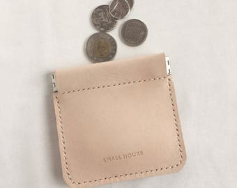 Coin Pinch Pouch , Natural Leather
