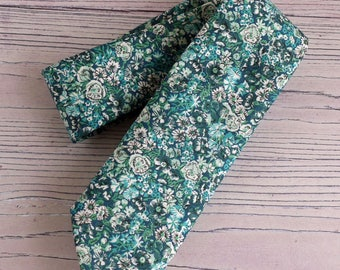 Mens floral tie - Liberty print tie Chive green and blue - green tie - blue tie - wedding tie - gift for him